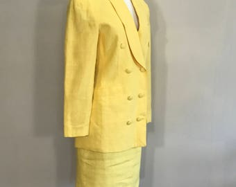 Vintage Yellow Linen Suit, Sunny James Yellow Linen Suit, 80s doublebrest Linen Suit,Summer Suit