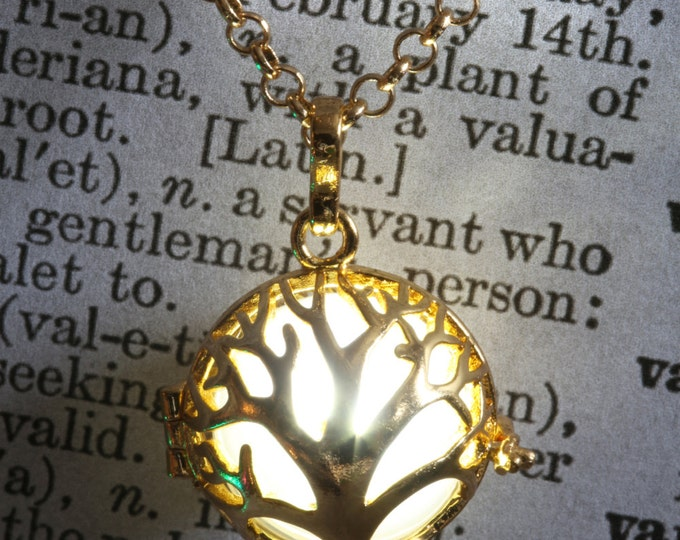 Glowing tree of life pendant glowing tree necklace glowing tree jewelry - Golden locket with glowing Orb - Valentine Gift for her- White LED