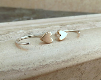 Sleeper Hoop Earrings - Tiny Heart Earrings Ear Huggers - Tiny Dainty Stud Earrings Brushed in Bronze and Silver - Valentines Gift for Her