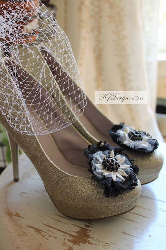 Wedding or Dress - Black and Antique White Daisy shoe clips with a metal raised black beaded center