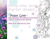 Special Intro Price『Poppy Love』Instant Download Digital Stamp / Animal Bird Hummingbird Flora Flower Fantasy Fairy Girl by Ching-Chou Kuik