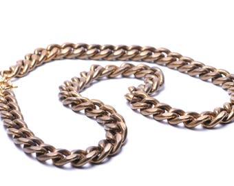 "Heavy Vintage Brass Chain Necklace 32"""