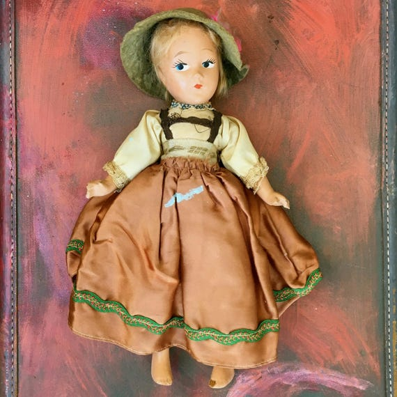 Sweet-faced Vintage Composition Doll in German Costume