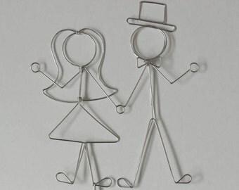 Wedding Cake Topper Bride and Groom Stick Figures: WE BELONG TOGETHER