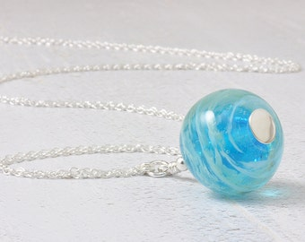 Blue Handmade Glass Necklace | 'Whirlpool' Turquoise Lampwork Glass Necklace | Sterling Silver UK