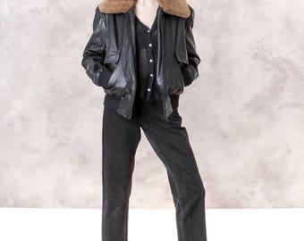 LEATHER JACKET black FUR faux trim vintage Bomber soft coat / Medium/ better Stay together