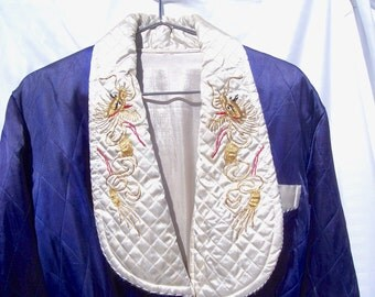 Vintage Japanese Quilted Robe EUC Dark Blue and White Gold Embroidery