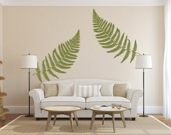 Fern Wall Decal, Large Leaf Decals, Vinyl Wall Decal Leaves, Botanical wall decor, Botanical Decor, Earthy Decor, Fern Sticker, Home office