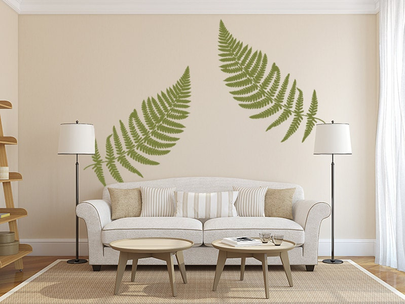 Fern Wall Decal Large Leaf Decals Vinyl Wall Decal Leaves