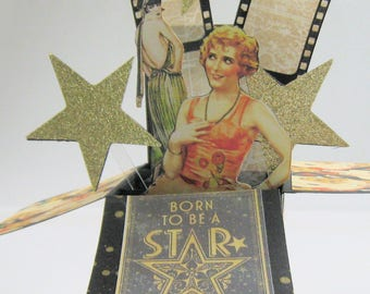Vintage Hollywood Box Card - Card in a box - Birthday Pop Up Card