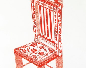 Arts and Crafts Chair - Lino Print