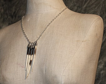Quill Cluster Long Natural Spike Necklace