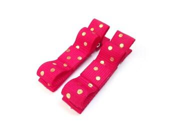 Hot Pink Hair Clips Gold Polka Dot Hair Clips Dark Pink Tuxedo Bows Gold Tuxedo Bows Baby Bows Baby Hair Clips Baby Girl Hair Clips Pink Bow