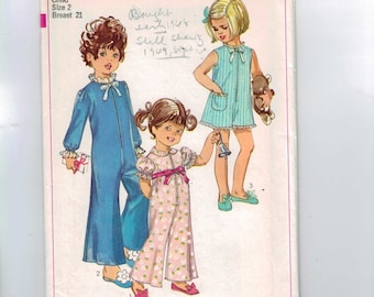 1960s Vintage Sewing Pattern Simplicity 7965 Girls Pajamas or Pantsuit Zipper Front Bell Bottoms Size 2 Breast 21 60s 1968 UNCUT