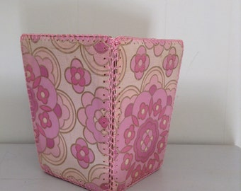 Shabby Waste Basket from 1960's Pink wallpaper Vintage Retro