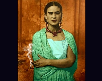 Frida Kahlo Smoking in Rebozo Shawl Poster Print Instant Digital Download  Photomontage Cigarette Smoke Turquoise Blue Green Gold All Sizes