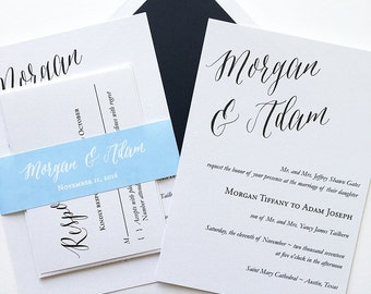 Charming Wedding Invitation - Blue and Black Wedding Invitation