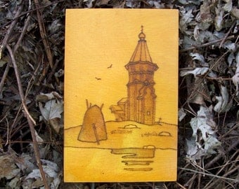 Vintage Wood Burned Wall Plaque Russian Orthodox Church Tower