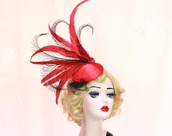 Red Hat, Feather Fascinator, Showgirl Headpiece, High Fashion, Ascot Races, Kentucky Derby, Burlesque Costume, Other Colors Available
