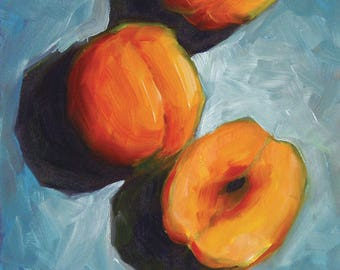 SALE! Peaches 5x5 original oil painting impressionist still life by Nance Danforth