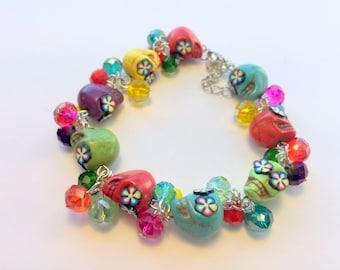 Rainbow  Day of the Dead Sugar Skull Adjustable Bracelet