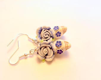 Sugar Skull Earrings Day of the Dead Earrings in White and Blue