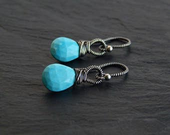 Rose Cut Turquoise Earrings: Sterling Silver, Natural Turquoise, 1 inch long, twisted hooks, robins egg blue, wire wrapped gemstone jewelry