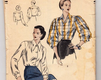 """Vintage Sewing Pattern Ladies' Blouses Late 1940's Vogue 6246 in 34"""" Bust - Free Pattern Grading E-book Included"""