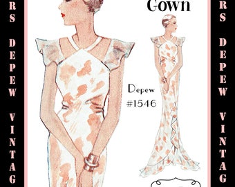 Vintage Sewing Pattern 1930's Evening or Wedding Gown in Any Size Depew 1546 - PLUS Size Included -INSTANT DOWNLOAD-