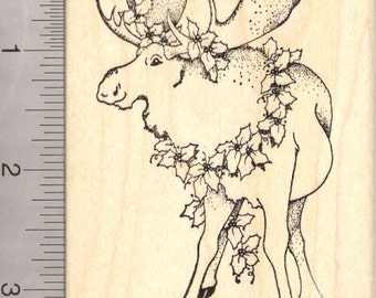 Merry Christmas Moose Rubber Stamp M7307 Wood Mounted