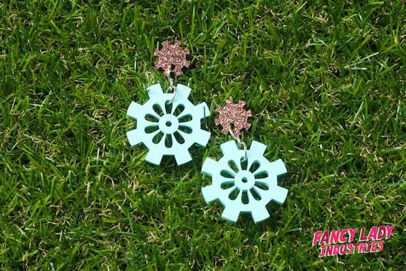 Mint and Copper Glitter Cog and Gear Dangle Earings, Gearrings, Steampunk Earrings, Laser Cut Acrylic Earrings,