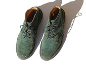 Vintage Men's Dr Martens Moss Green Suede Leather Ankle Boots / size 11