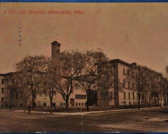 Postcard City Hospital Minneapolis Minnesota Sepia Antique Divided Back Used 1914
