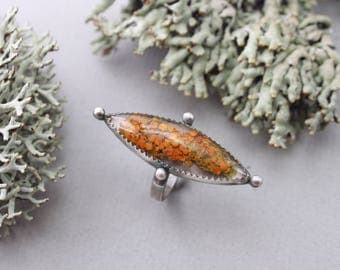 BENEATH THE TREES  |||  Handmade Sterling Silver and Marquis Lichen Ring - size 5.75
