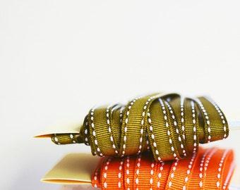 Stitched Edge Ribbon {5m} Olive | Olive Grosgrain Ribbon | Sewing Notions | Ribbon Trim | Autumn Ribbon