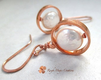 White Pearl Earrings, Copper Earrings, Coin Pearls, Freshwater Pearls, Circle Ring Dangles, Baroque Pearls, June Birthstone  E450