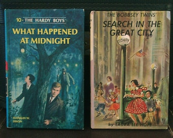 Two Vintage Children's Books, Bobbsey Twins Search in the Big City, and Hardy Boys What Happened at Midnight, Both Hardcovers from 1960s