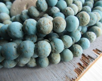 turquoise blue glass beads, rustic round  lampwork beads, matte opaque, gritty textured aged look , indonesian  8 to 9mm (16 beads) 6CB8