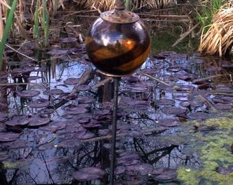 Gold Glass and Metal Garden Stake