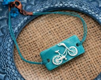 Blue Bicycle Bracelet, Flower Bracelet, Bicycle Bar Bracelet