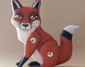 Hand Painted Red Fox Woodland Animal Folk Art Doll - Button Jointed Contemporary One of a Kind Whimsical Soft Sculpture