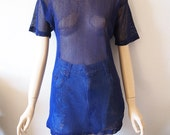BLUEBERRY // Vintage 80s Blue Mesh Shirt Unisex Small Medium Sexy See Through Top Fetish Clubwear Rave Clothing 1990s Grunge Cyber Goth