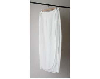 1990's Sheer White Wrapped Pencil Skirt
