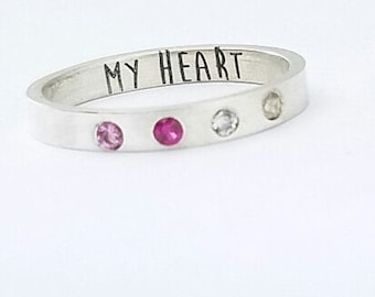 Valentines - Birthstone Ring - Wife Gift - Mothers Day Birthstone Ring - Name and Birthstone Ring - Mother Ring - Mother's Day Gift