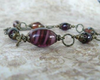 Plum Glass Bead Bracelet, Dark Purple Bracelet, Vintage Boho Style Jewelry, One of a Kind Bracelet, Amethyst Glass Beads