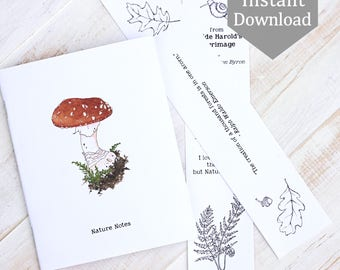 Pocket Nature Notebook Covers + 2 Bookmarks - Forest or Woodland - Digital - Printable PDF - Fly Agaric Mushroom