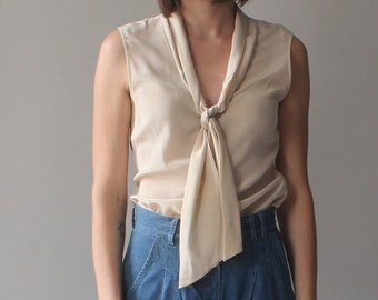 silk cream blouse | tie neck sleeveless top  | 1990s small