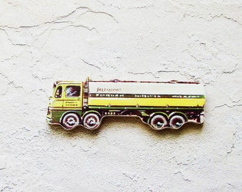1960s Tanker Truck Brooch - Pin / Upcycled Vintage Hand Cut Wood Road Vehicle Puzzle Piece / Yellow Green White Black / Unique Gift Under 30