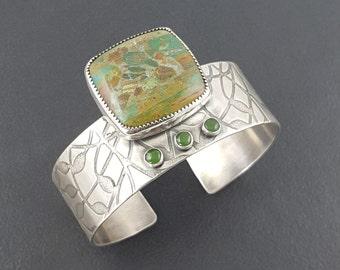 Larsonite Cuff, gary green bracelet, swamp bog jasper cuff bracelet, sterling silver, wide cuff bracelet, green jade, off center cuff