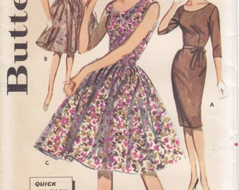 Vintage Pattern Butterick 9973  Quick 'N Easy Dress 60s Size 14 B34 UNCUT